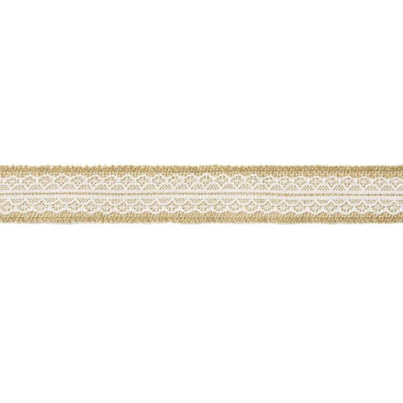 Ruban de jute avec dentelle 4x500cm