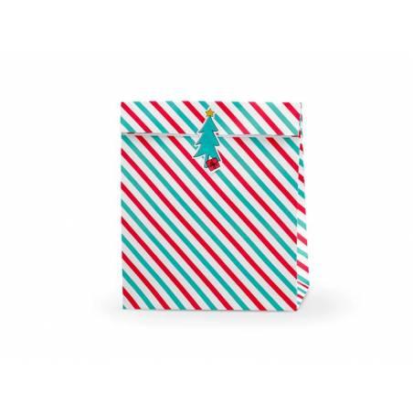 Sacs cadeaux Merry Xmas - Stripes 25x11x27cm