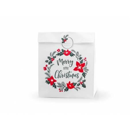 Sacs cadeaux Joyeux Petit Noël blanc 25x11x27cm