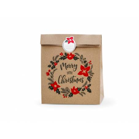 Sacs cadeaux Merry Little Christmas kraft 25x11x27cm