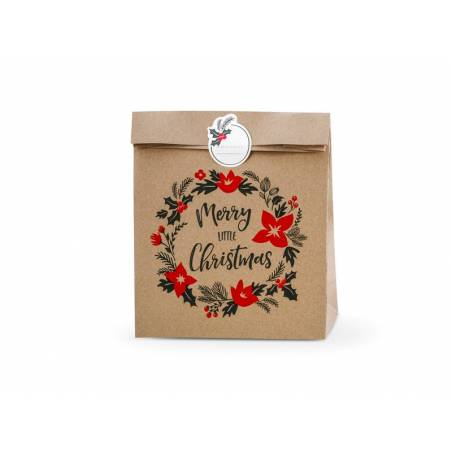Sacs cadeaux Merry Little Christmas kraft 25x11x27cm
