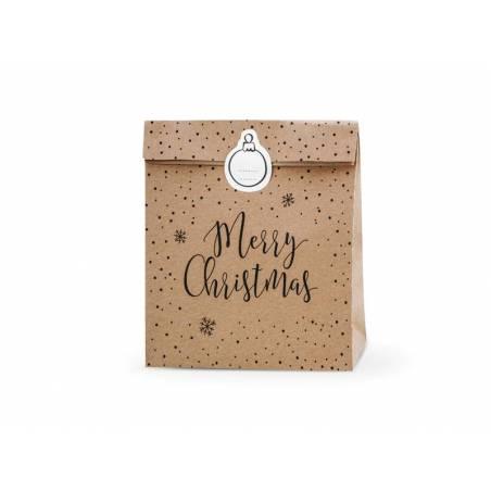 Sacs cadeaux Joyeux Noël kraft 25x11x27cm