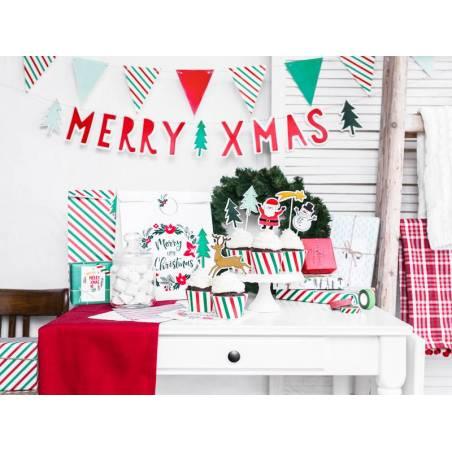 Sacs-cadeaux Joyeux Noël et bonne année kraft 25x11x27cm