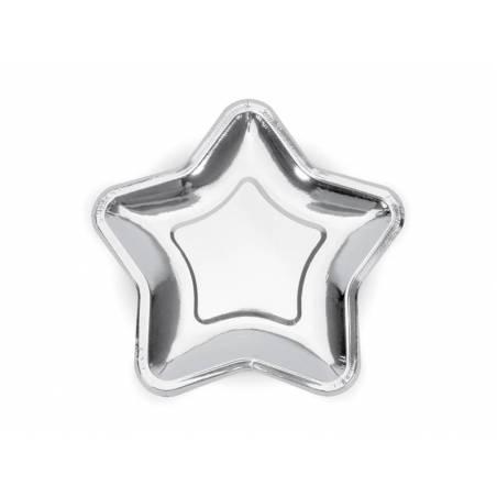 Assiettes en papier étoile argent 18cm