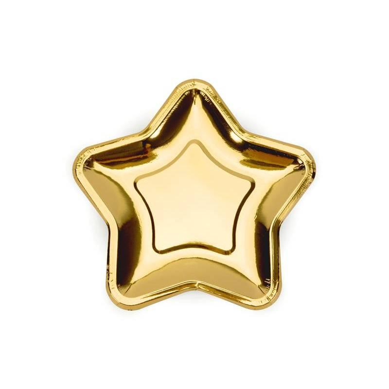 Assiettes en papier étoile or 18cm