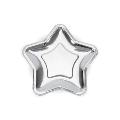 Assiettes en papier étoile argent 23cm