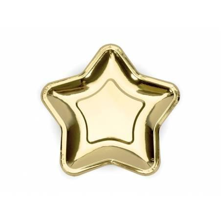Assiettes en papier étoile or 23cm