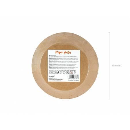 Assiettes rondes kraft 18 cm