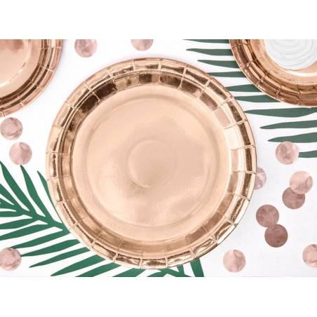 Assiettes en papier rondes or rose 23cm