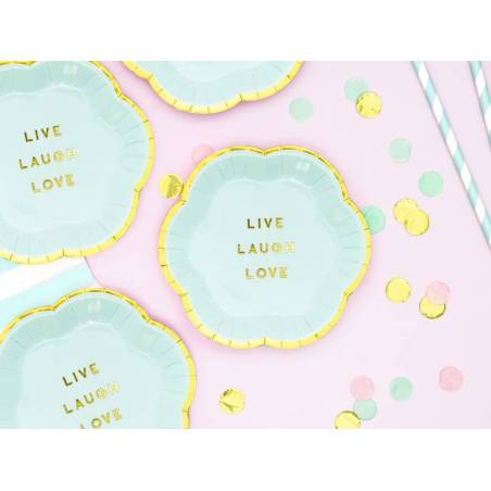 Assiettes Yummy - Live Laugh Love bleu clair 13cm