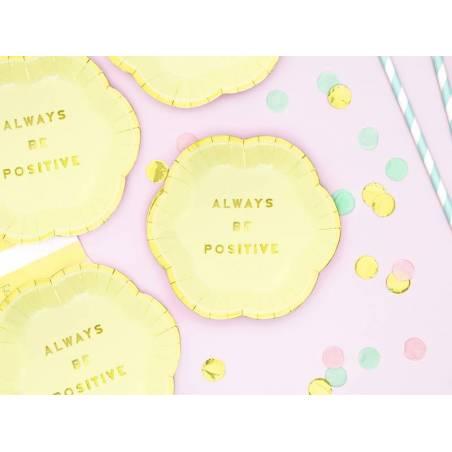 Assiettes Délicieuses - Soyez toujours positives jaune clair 13cm