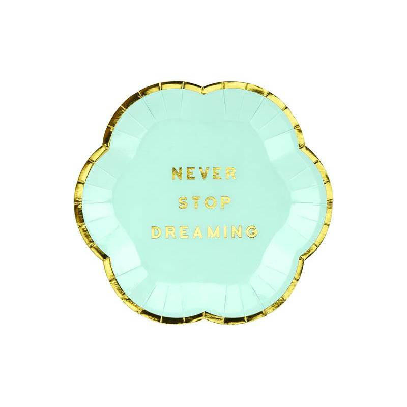 Assiettes Yummy - Never Stop Dreaming menthe 13cm