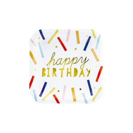 Assiettes Happy Birthday mélanger 20x20cm.