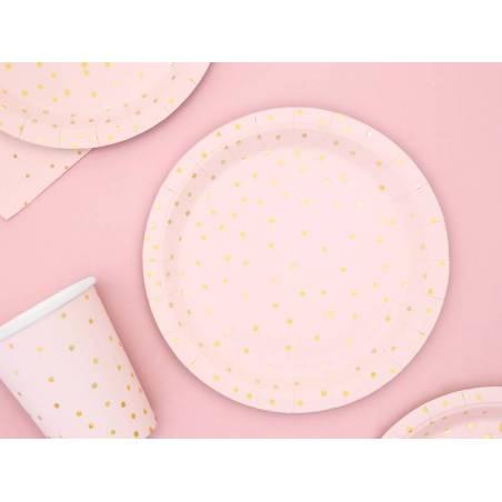 Assiettes à pois rose clair 18cm