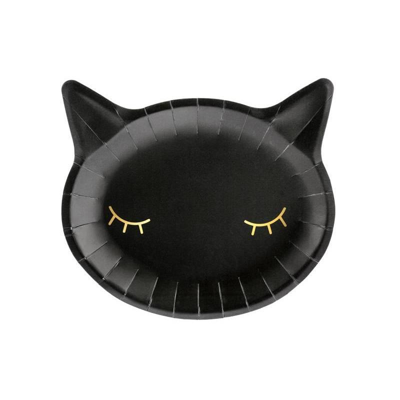Assiettes en papier chat noir 22x20cm