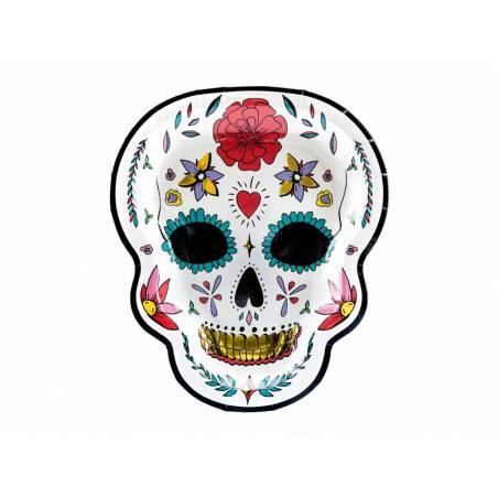 Assiettes Dia de los Muertos Crâne 19.5x23cm