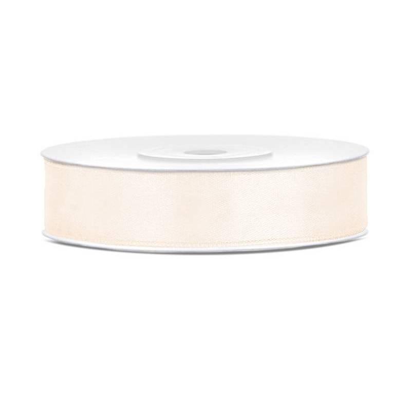 Ruban Satin crème légère 12mm / 25m