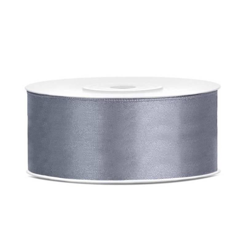 Ruban Satin gris 25mm / 25m