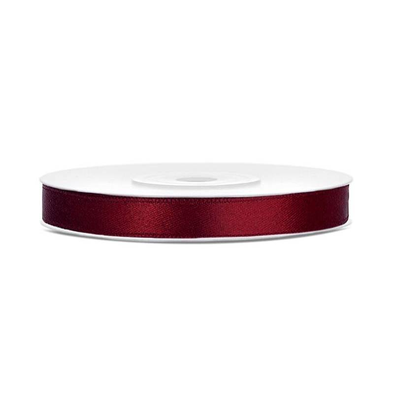 Ruban Satin rouge profond 6mm / 25m