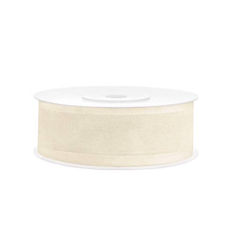 Ruban en mousseline crème légère 25mm / 25m