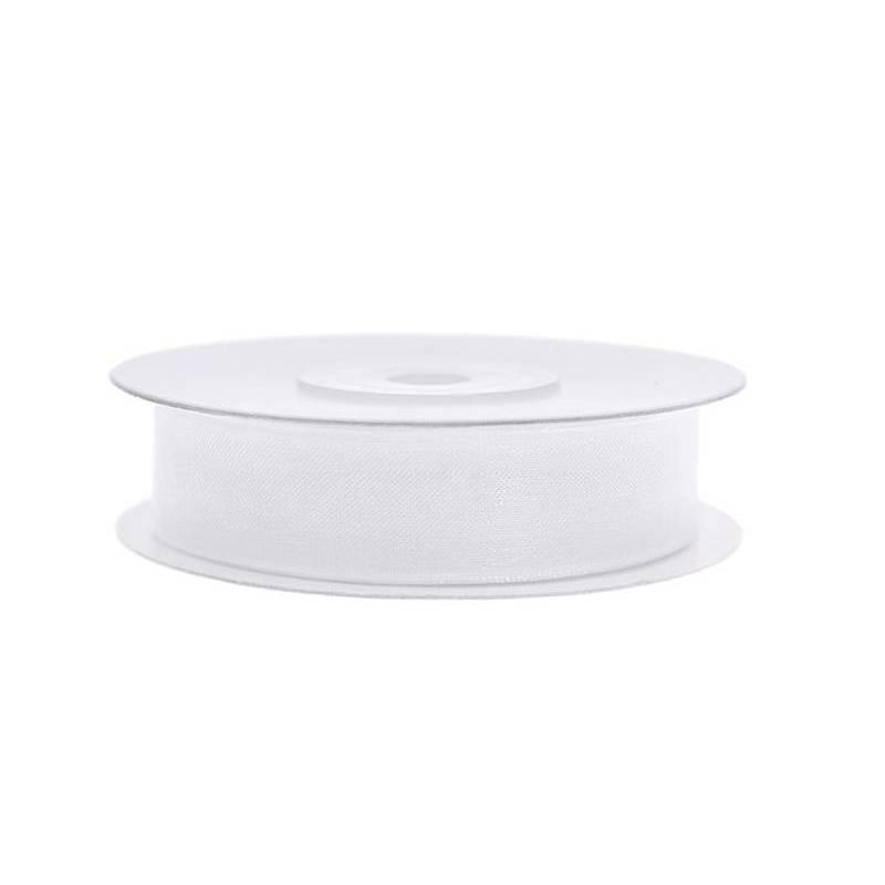 Ruban en mousseline de soie blanc 12mm / 25m