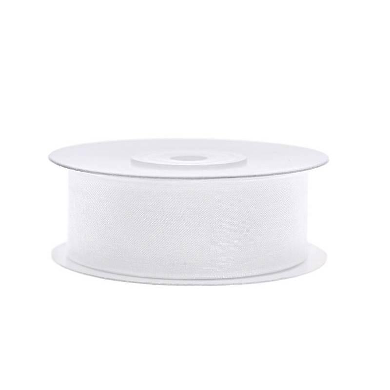 Ruban en mousseline de soie blanc 25 mm / 25 m