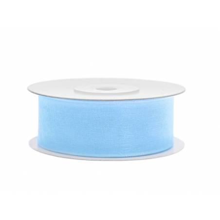 Ruban en mousseline de soie bleu ciel 25mm / 25m