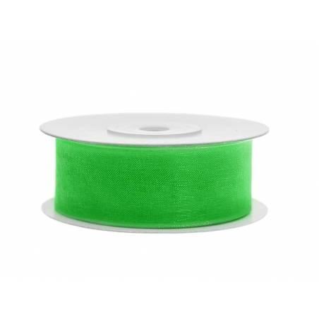 Ruban en mousseline de soie vert trèfle 25mm / 25m