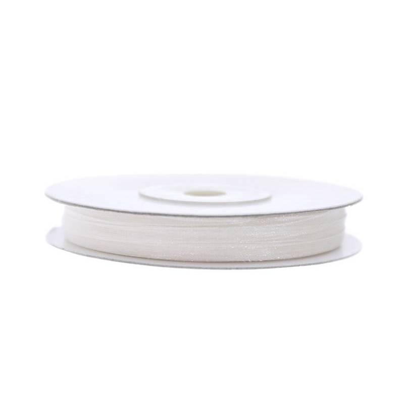 Ruban en mousseline de soie blanc 3mm / 50m