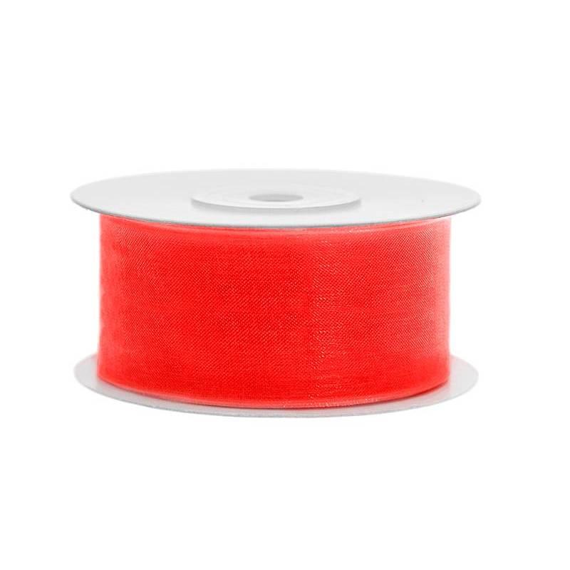 Ruban en mousseline de soie n. rouge-orange 38mm / 25m