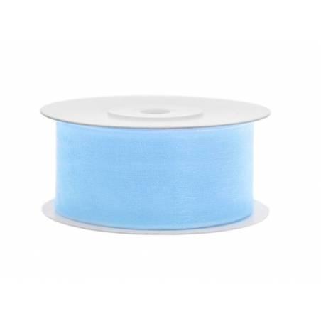 Ruban en mousseline de soie bleu ciel 38mm / 25m