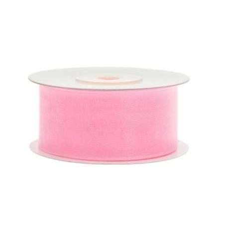 Ruban en mousseline de soie rose clair 38mm / 25m
