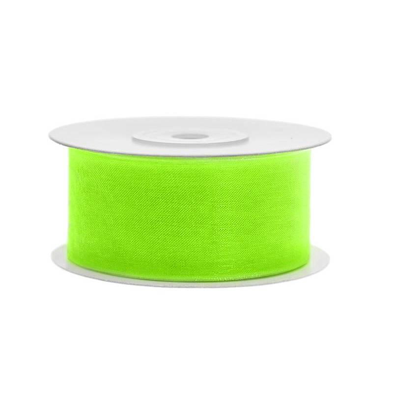 Ruban en mousseline de soie néon vert clair 38mm / 25m