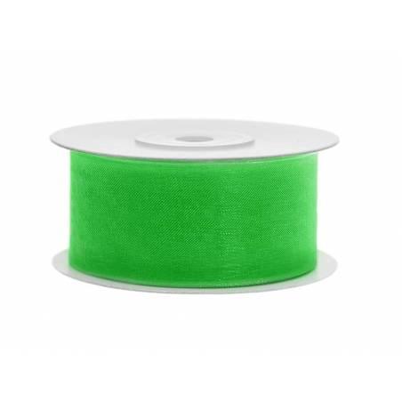 Ruban en mousseline de soie vert trèfle 38mm / 25m