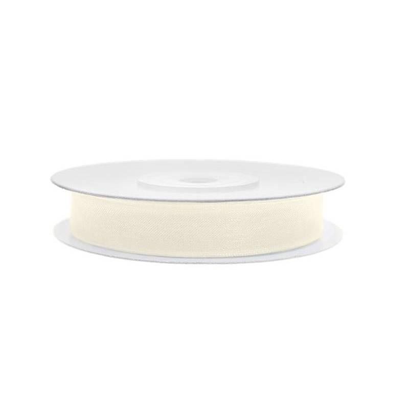 Ruban en mousseline de soie crème légère 6mm / 25m