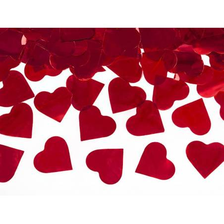 Canon à confettis avec coeurs rouge 40cm