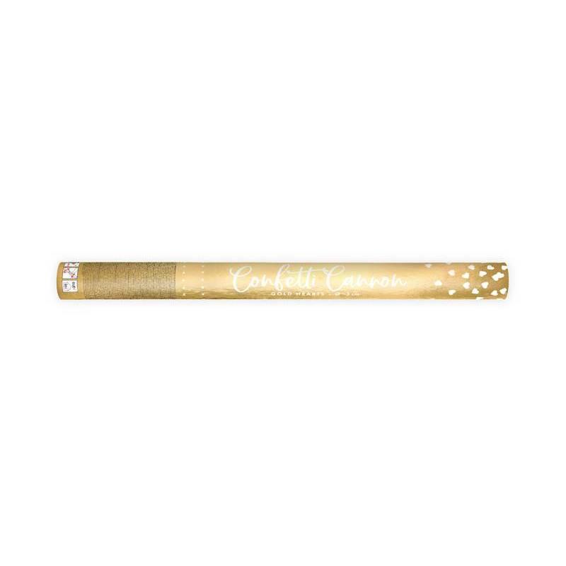 Canon à confettis avec coeurs or 60cm