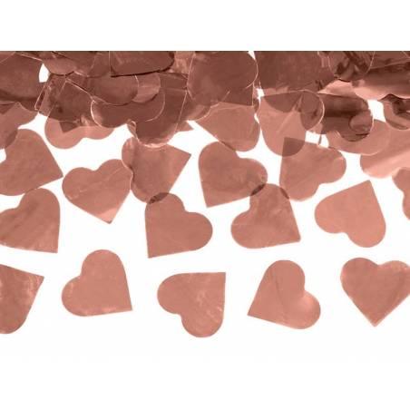 Canon à confettis avec coeurs or rose 60cm