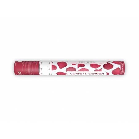 Canon à confettis avec pétales de rose rouge foncé 40cm