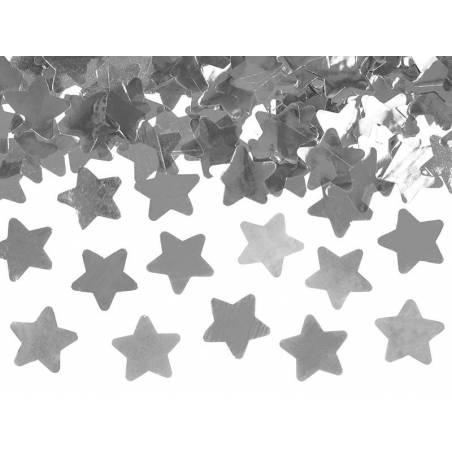 Canon à confettis avec étoiles argent 60cm