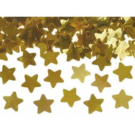 Canon à confettis avec étoiles or 60cm