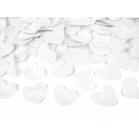 Canon à confettis avec coeurs blanc 60cm