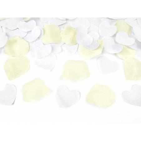 Canon à confettis avec pétales de roses et coeurs crème 80cm