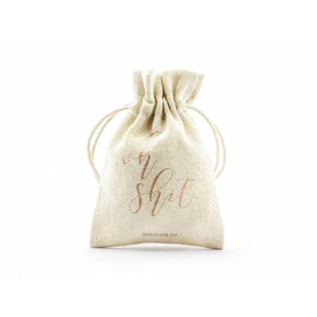 Pochettes en coton - Oh merde or rose 10x15cm
