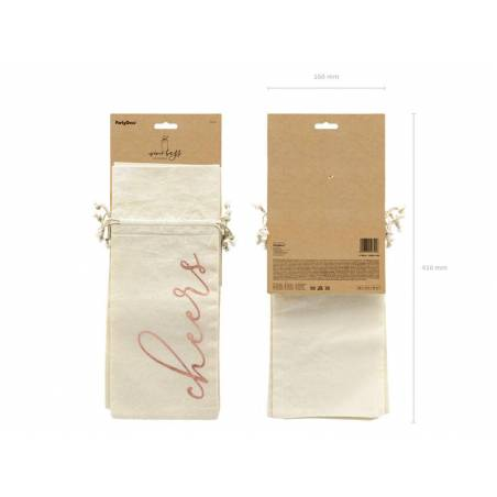 Sac en coton avec vin - Cheers or rose 15.5x36cm