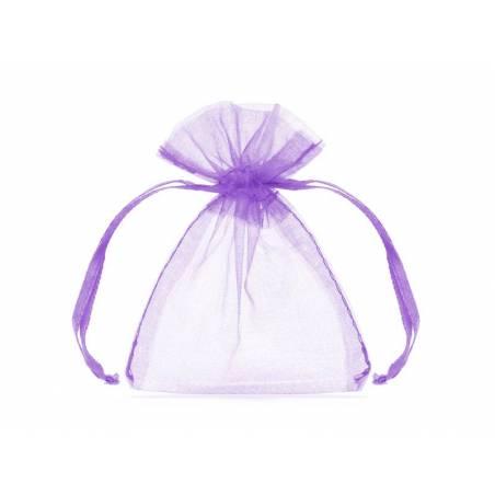 Pochettes en organza lilas 10cm