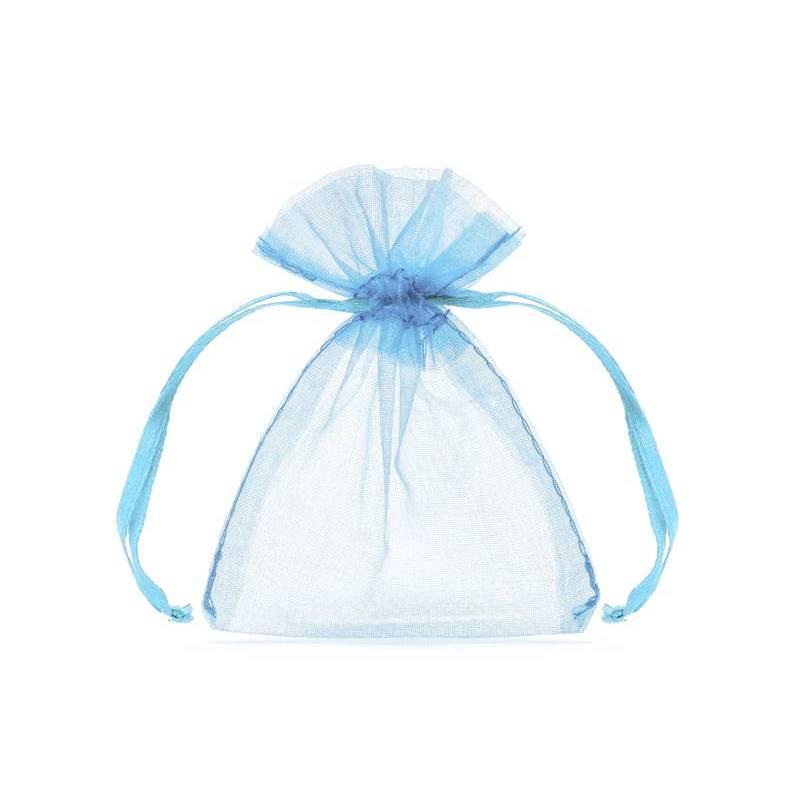 Pochettes en organza bleu ciel 10cm