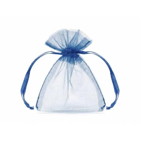 Pochettes en organza bleu royal 10 cm