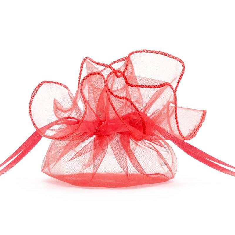 Pochettes en organza rouge 26 cm