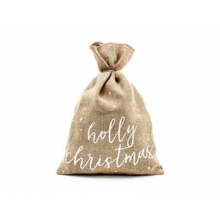 Sac de jute Holly Christmas blanc 30x42cm